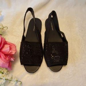 Lane Bryant Black Flat Open Toe Sandals Size 11W